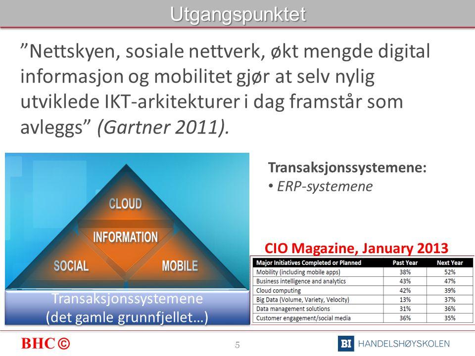 BHC © 5Utgangspunktet Nettskyen, sosiale nettverk, økt mengde digital informasjon og mobilitet gjør at selv nylig utviklede IKT-arkitekturer i dag framstår som avleggs (Gartner 2011).