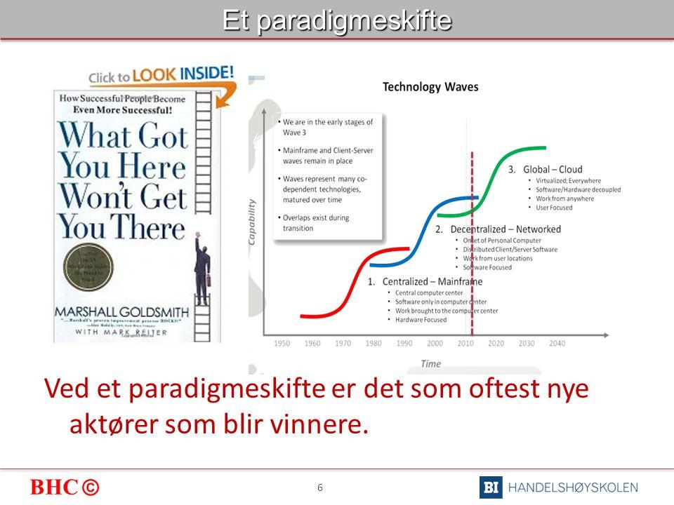 BHC © 6 Et paradigmeskifte Ved et paradigmeskifte er det som oftest nye aktører som blir vinnere.