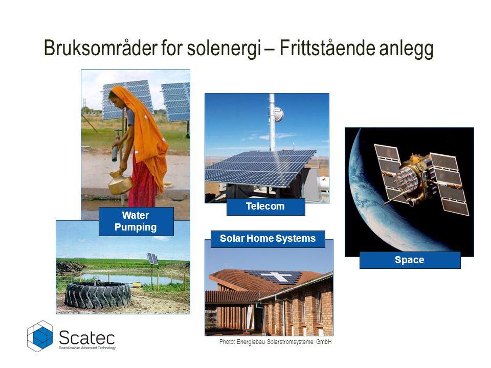 Space Water Pumping Telecom Bruksområder for solenergi – Frittstående anlegg Photo: Energiebau Solarstromsysteme GmbH Solar Home Systems
