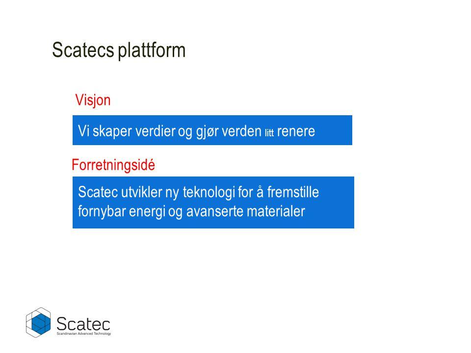 Scatecs plattform Vi skaper verdier og gjør verden litt renere Scatec utvikler ny teknologi for å fremstille fornybar energi og avanserte materialer Forretningsidé Visjon