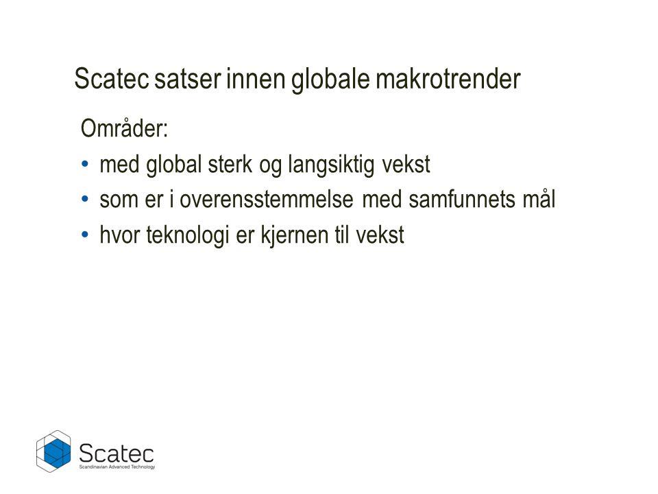 Scatec satser innen globale makrotrender Områder: • med global sterk og langsiktig vekst • som er i overensstemmelse med samfunnets mål • hvor teknologi er kjernen til vekst