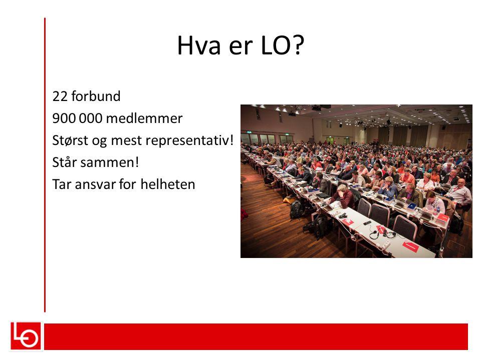 Hva er LO.22 forbund 900 000 medlemmer Størst og mest representativ.