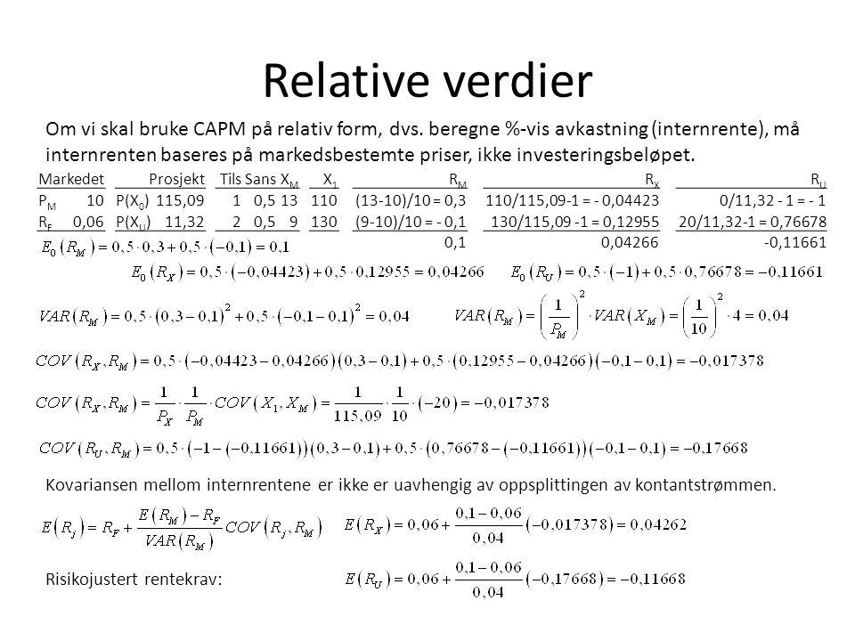 Relative verdier Om vi skal bruke CAPM på relativ form, dvs. beregne %-vis avkastning (internrente), må internrenten baseres på markedsbestemte priser