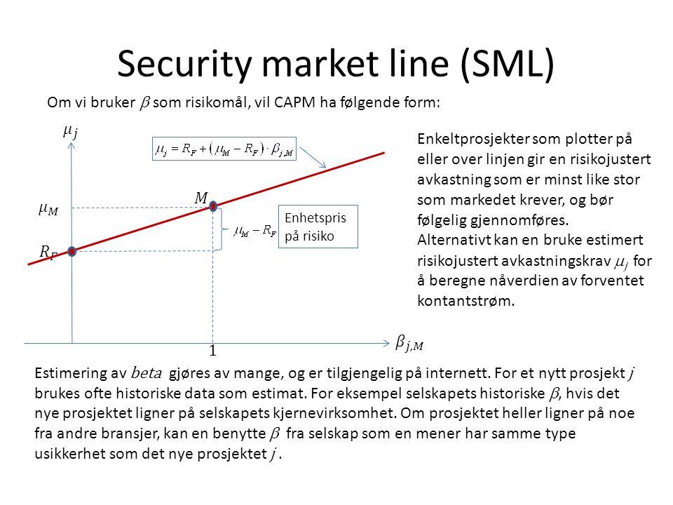 Security market line (SML) Om vi bruker  som risikomål, vil CAPM ha følgende form: Enkeltprosjekter som plotter på eller over linjen gir en risikojus