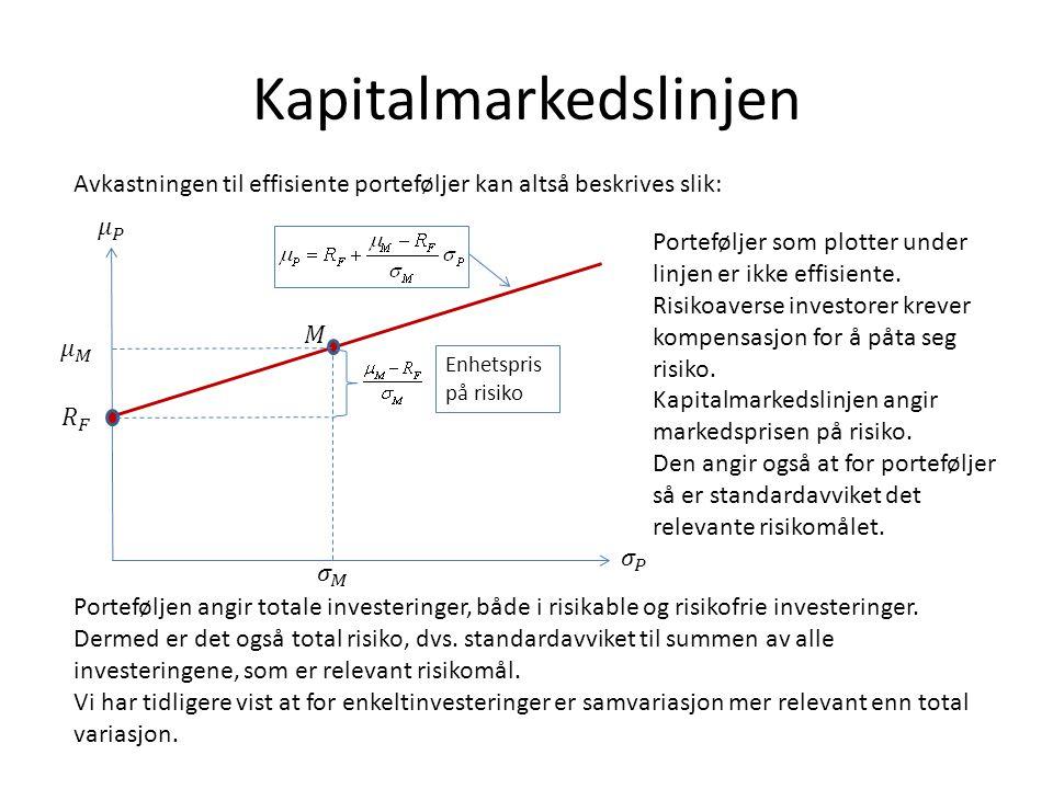 Forutsetninger bak CAPM • En enperiodisk modell (kan utvides, men vanskelig).