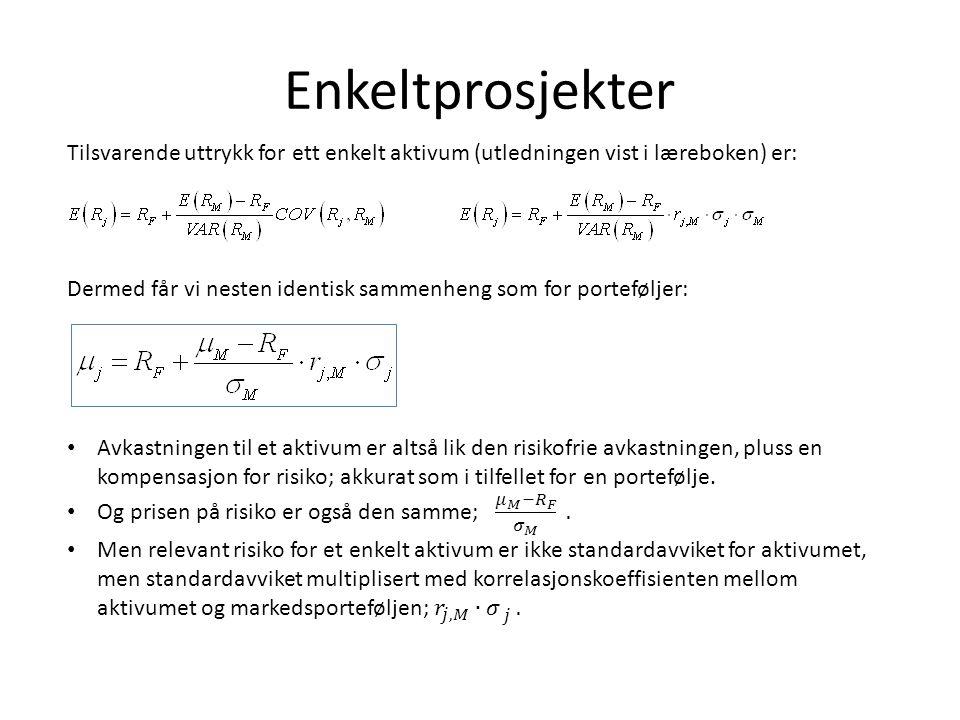 Empiriske tester av CAPM • Det er mange metodiske problemer med å teste CAPM.