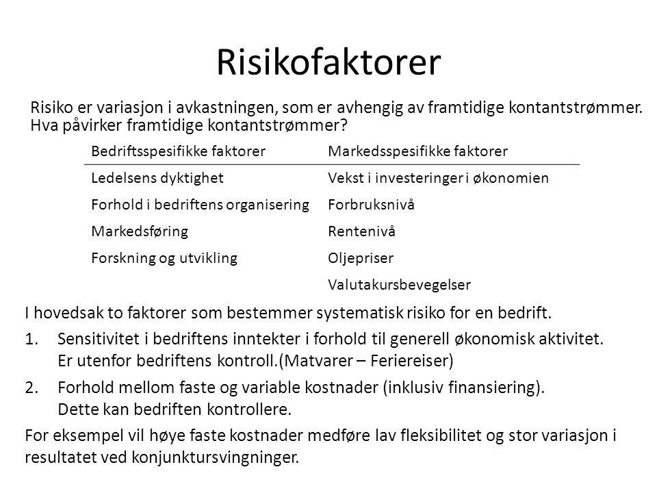 Risikofaktorer Risiko er variasjon i avkastningen, som er avhengig av framtidige kontantstrømmer. Hva påvirker framtidige kontantstrømmer? Bedriftsspe