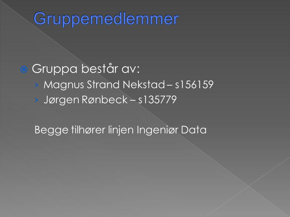  Gruppa består av: › Magnus Strand Nekstad – s156159 › Jørgen Rønbeck – s135779 Begge tilhører linjen Ingeniør Data