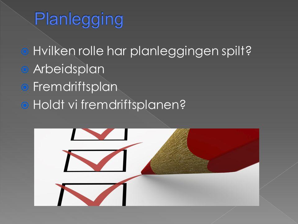  Hvilken rolle har planleggingen spilt?  Arbeidsplan  Fremdriftsplan  Holdt vi fremdriftsplanen?