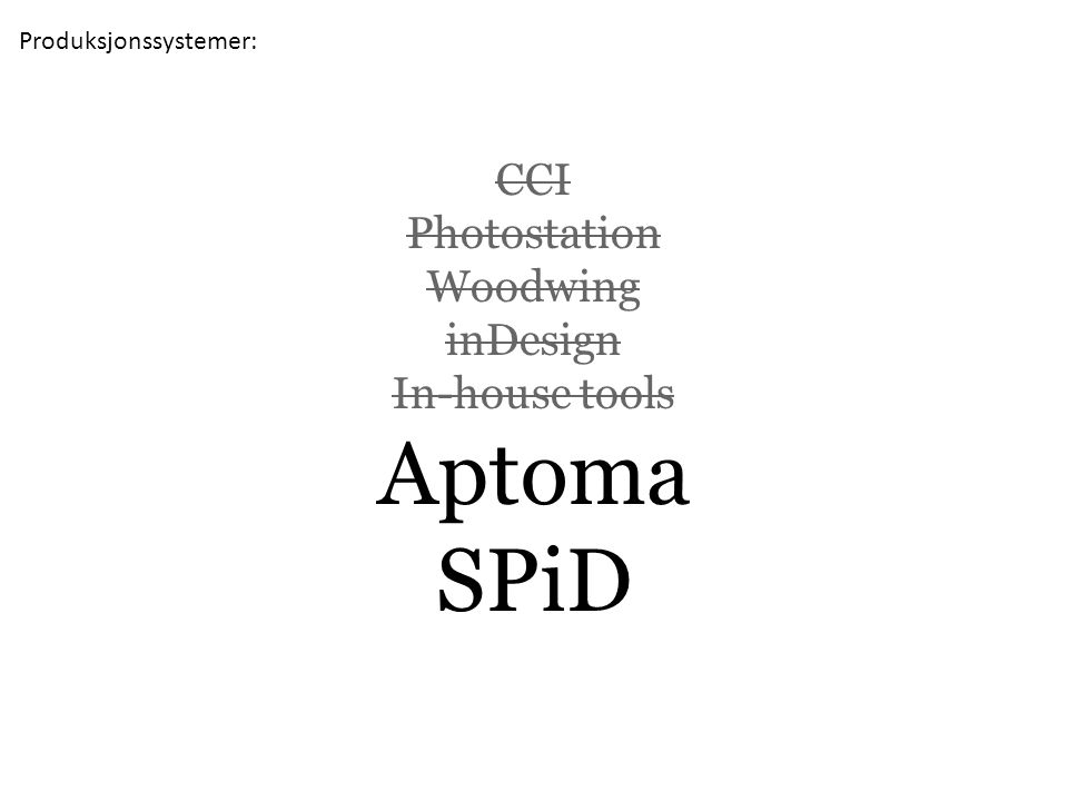 CCI Photostation Woodwing inDesign In-house tools Aptoma SPiD Produksjonssystemer: