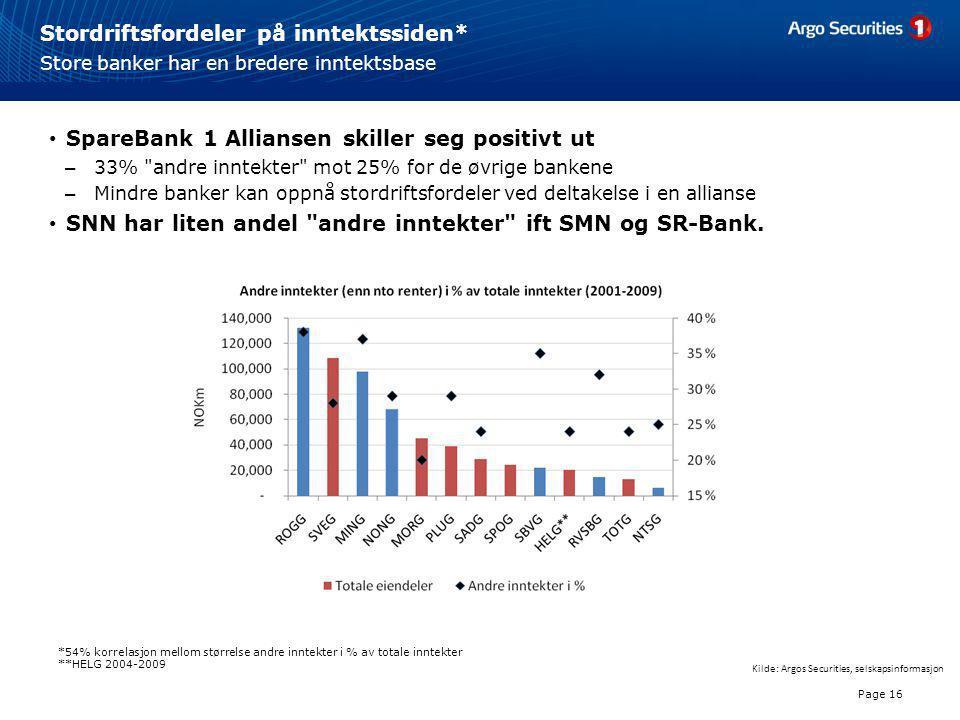 Stordriftsfordeler på inntektssiden* Page 16 Store banker har en bredere inntektsbase • SpareBank 1 Alliansen skiller seg positivt ut – 33%