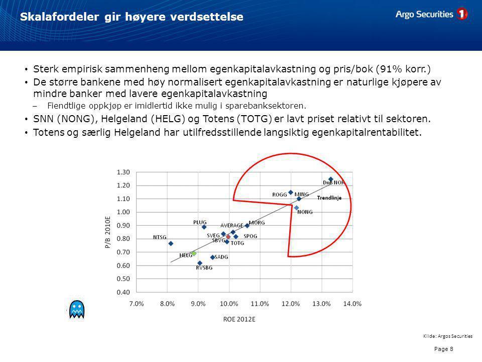 Skalafordeler gir høyere verdsettelse Page 8 Kilde: Argos Securities • Sterk empirisk sammenheng mellom egenkapitalavkastning og pris/bok (91% korr.)