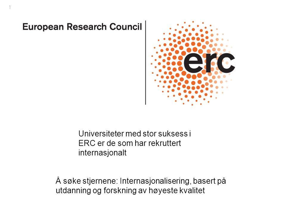 Universiteter med stor suksess i ERC er de som har rekruttert internasjonalt Å søke stjernene: Internasjonalisering, basert på utdanning og forskning av høyeste kvalitet