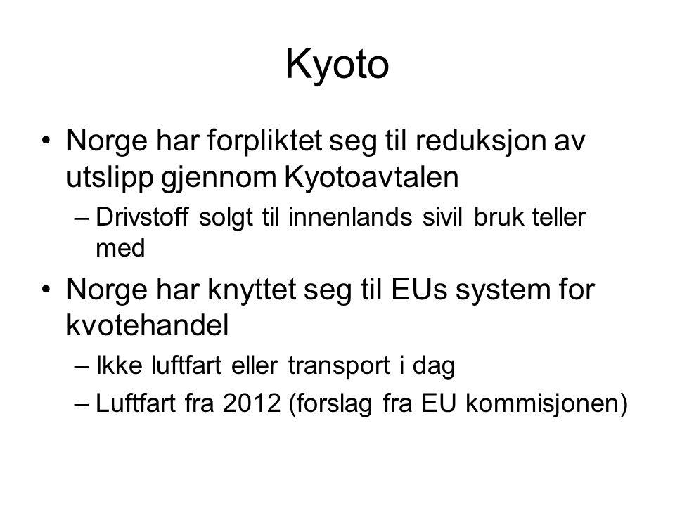 Kyoto •Norge har forpliktet seg til reduksjon av utslipp gjennom Kyotoavtalen –Drivstoff solgt til innenlands sivil bruk teller med •Norge har knyttet