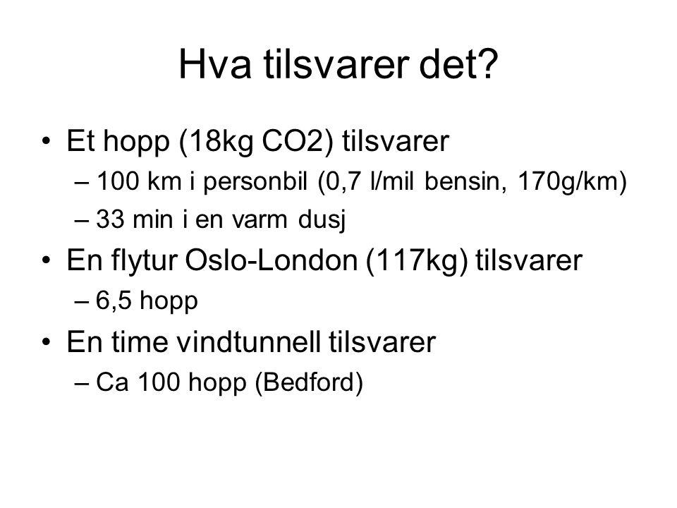 Hva tilsvarer det? •Et hopp (18kg CO2) tilsvarer –100 km i personbil (0,7 l/mil bensin, 170g/km) –33 min i en varm dusj •En flytur Oslo-London (117kg)