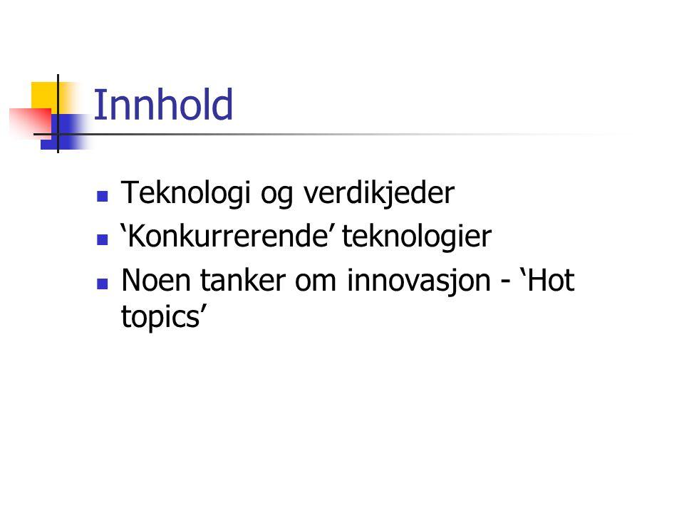 Innhold  Teknologi og verdikjeder  'Konkurrerende' teknologier  Noen tanker om innovasjon - 'Hot topics'