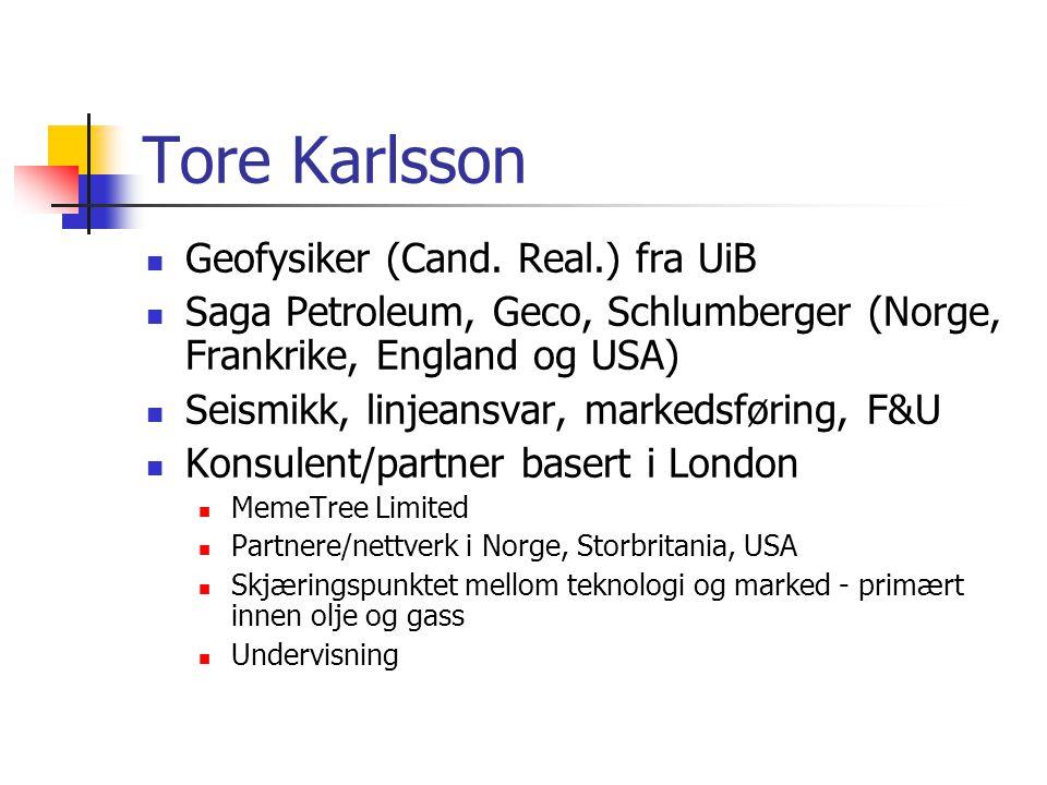 Tore Karlsson  Geofysiker (Cand.