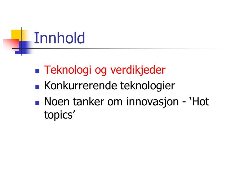 Innhold  Teknologi og verdikjeder  Konkurrerende teknologier  Noen tanker om innovasjon - 'Hot topics'