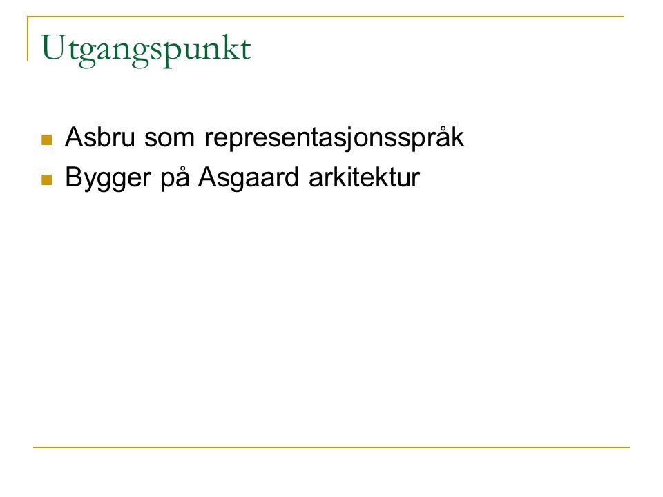 Utgangspunkt  Asbru som representasjonsspråk  Bygger på Asgaard arkitektur