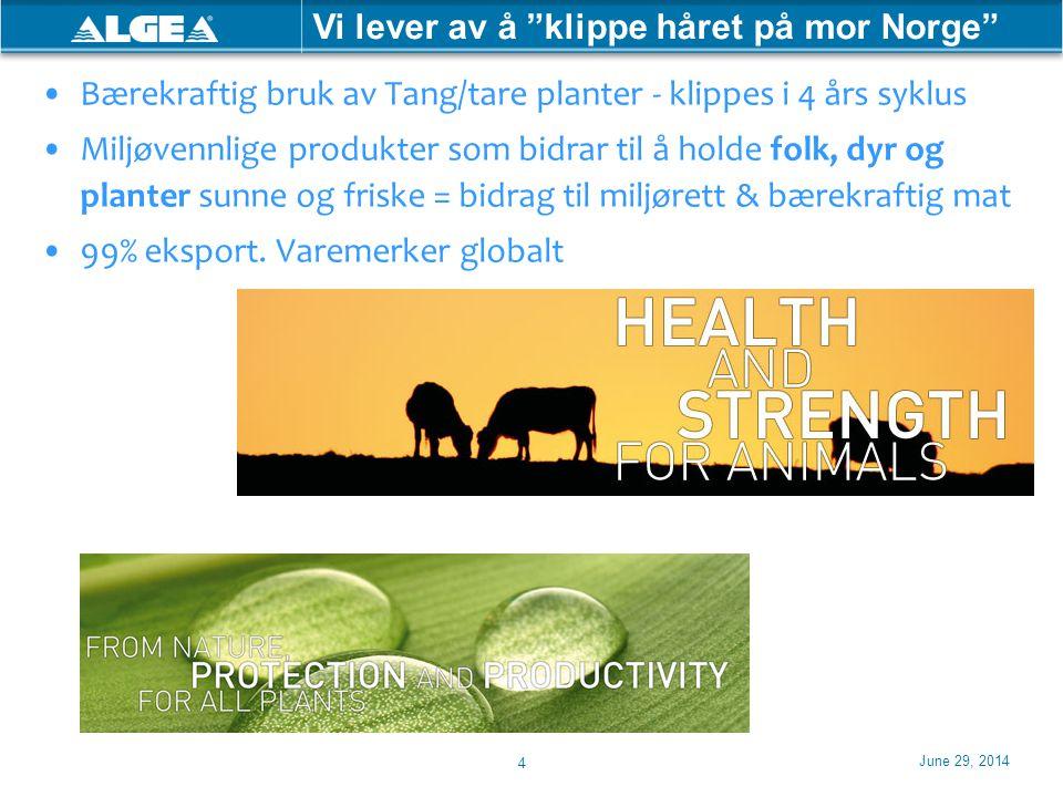 """June 29, 2014 4 Vi lever av å """"klippe håret på mor Norge"""" •Bærekraftig bruk av Tang/tare planter - klippes i 4 års syklus •Miljøvennlige produkter som"""