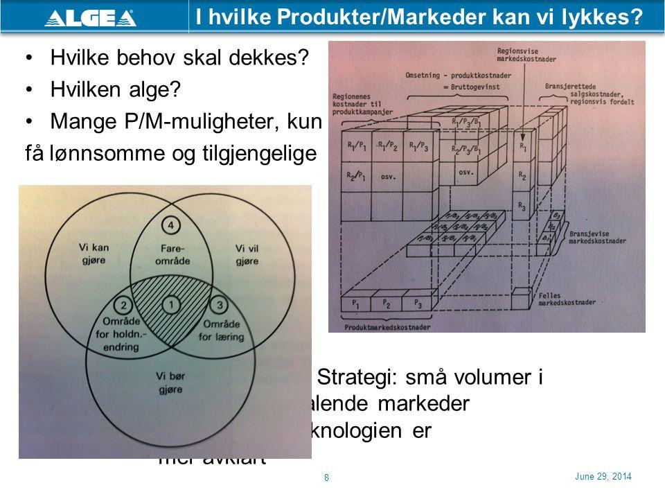June 29, 2014 8 I hvilke Produkter/Markeder kan vi lykkes? •Hvilke behov skal dekkes? •Hvilken alge? •Mange P/M-muligheter, kun få lønnsomme og tilgje
