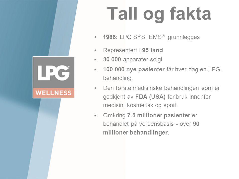 Tall og fakta •Representert i 95 land •30 000 apparater solgt •100 000 nye pasienter får hver dag en LPG- behandling. •Den første medisinske behandlin