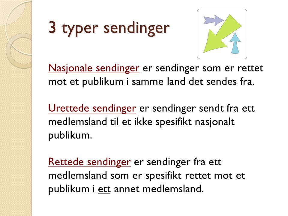 3 typer sendinger Nasjonale sendinger er sendinger som er rettet mot et publikum i samme land det sendes fra. Urettede sendinger er sendinger sendt fr