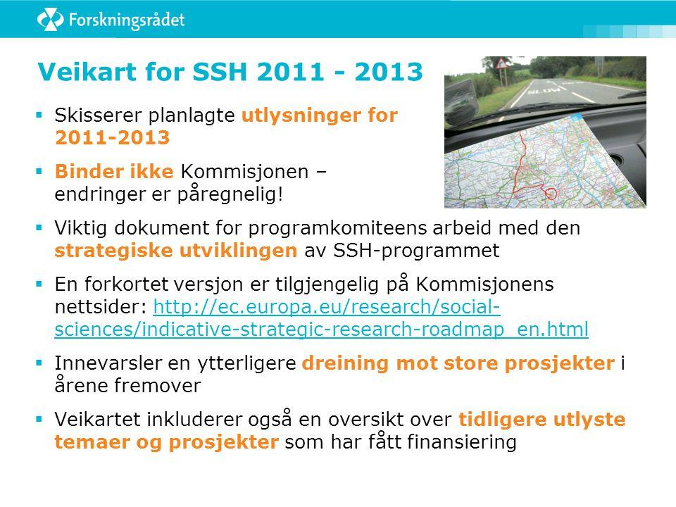 Veikart for SSH 2011 - 2013  Skisserer planlagte utlysninger for 2011-2013  Binder ikke Kommisjonen – endringer er påregnelig.