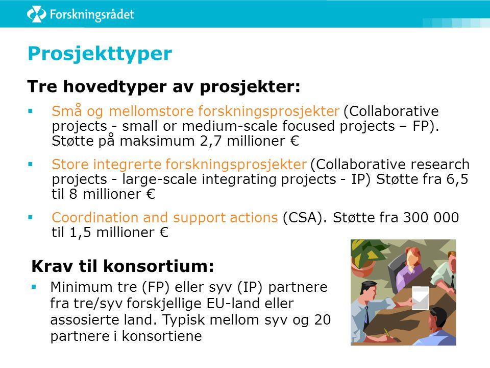Prosjekttyper Tre hovedtyper av prosjekter:  Små og mellomstore forskningsprosjekter (Collaborative projects - small or medium-scale focused projects – FP).