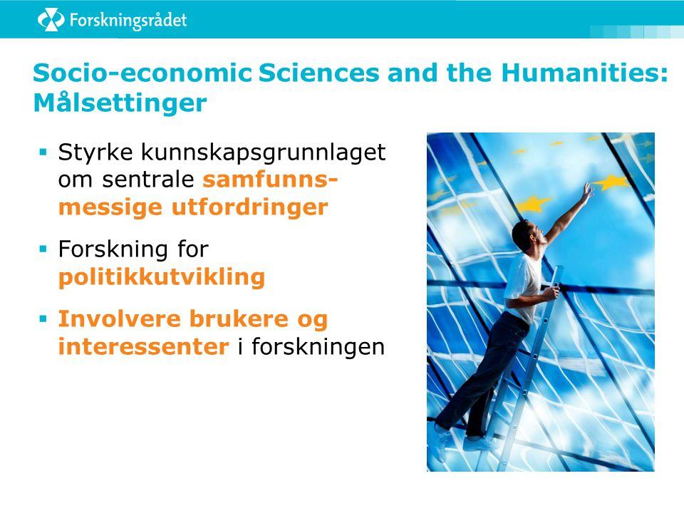Socio-economic Sciences and the Humanities: Målsettinger  Styrke kunnskapsgrunnlaget om sentrale samfunns- messige utfordringer  Forskning for politikkutvikling  Involvere brukere og interessenter i forskningen
