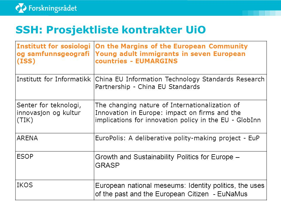 Aktivitet 7: Foresight Coordination and support action:  Forward visions on the European Research Area (ERA)