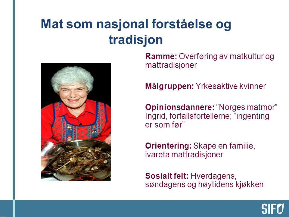"""Mat som nasjonal forståelse og tradisjon Ramme: Overføring av matkultur og mattradisjoner Målgruppen: Yrkesaktive kvinner Opinionsdannere: """"Norges mat"""