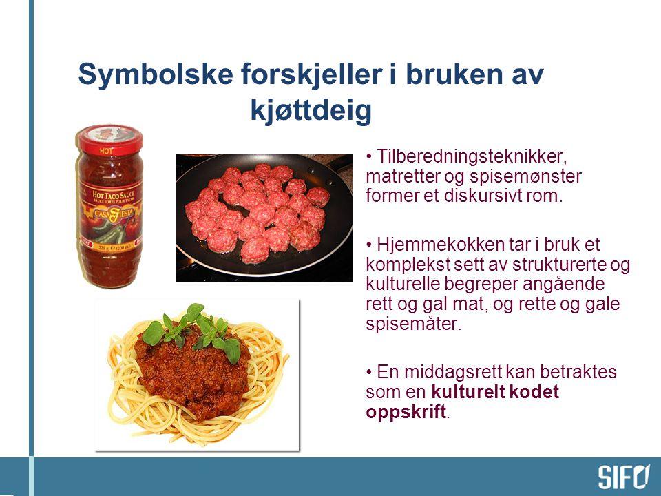 Symbolske forskjeller i bruken av kjøttdeig • Tilberedningsteknikker, matretter og spisemønster former et diskursivt rom. • Hjemmekokken tar i bruk et