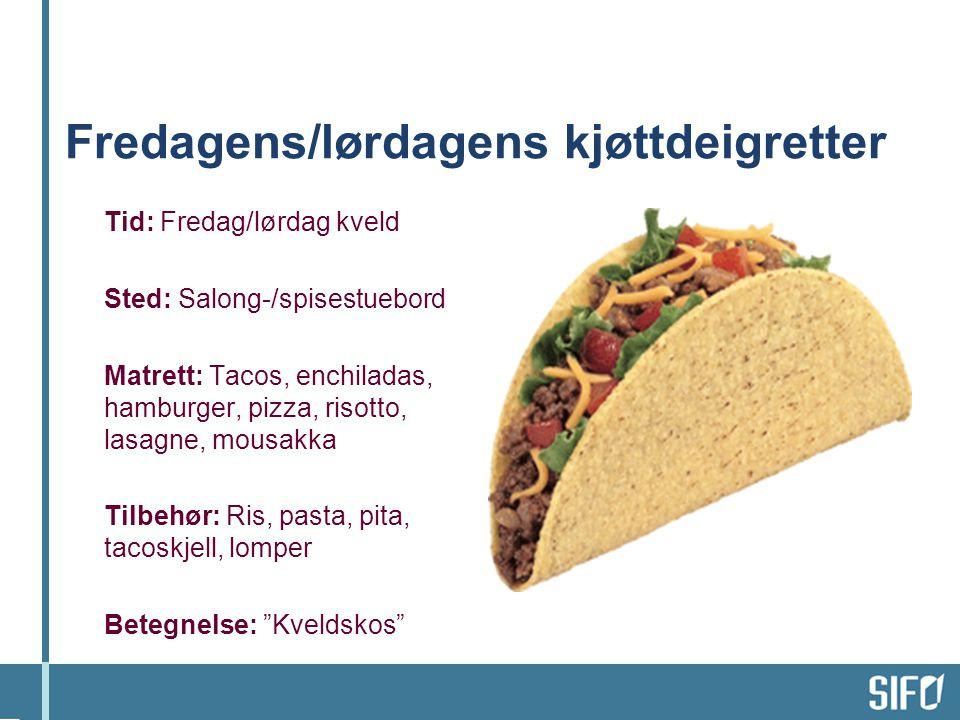 Fredagens/lørdagens kjøttdeigretter Tid: Fredag/lørdag kveld Sted: Salong-/spisestuebord Matrett: Tacos, enchiladas, hamburger, pizza, risotto, lasagn