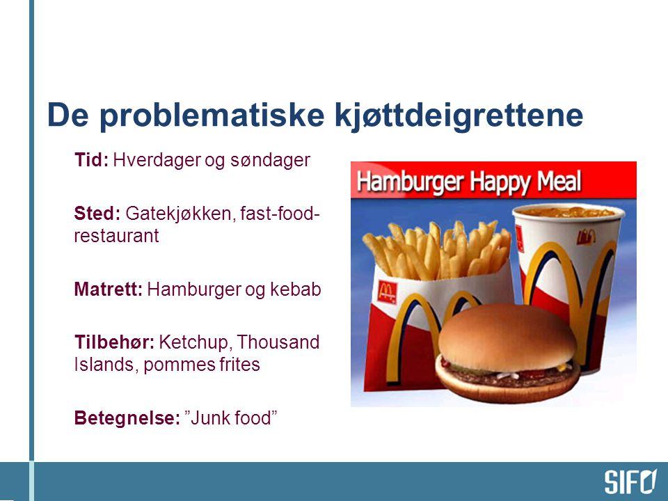 De problematiske kjøttdeigrettene Tid: Hverdager og søndager Sted: Gatekjøkken, fast-food- restaurant Matrett: Hamburger og kebab Tilbehør: Ketchup, T