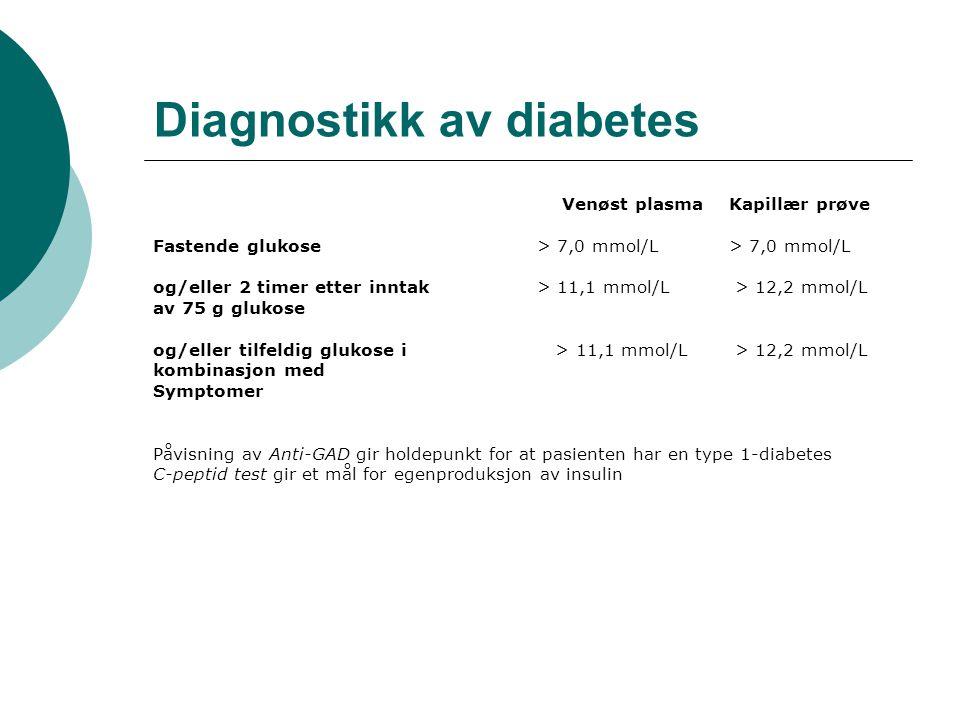Diagnostikk av diabetes Venøst plasmaKapillær prøve Fastende glukose > 7,0 mmol/L > 7,0 mmol/L og/eller 2 timer etter inntak > 11,1 mmol/L > 12,2 mmol/L av 75 g glukose og/eller tilfeldig glukose i > 11,1 mmol/L > 12,2 mmol/L kombinasjon med Symptomer Påvisning av Anti-GAD gir holdepunkt for at pasienten har en type 1-diabetes C-peptid test gir et mål for egenproduksjon av insulin