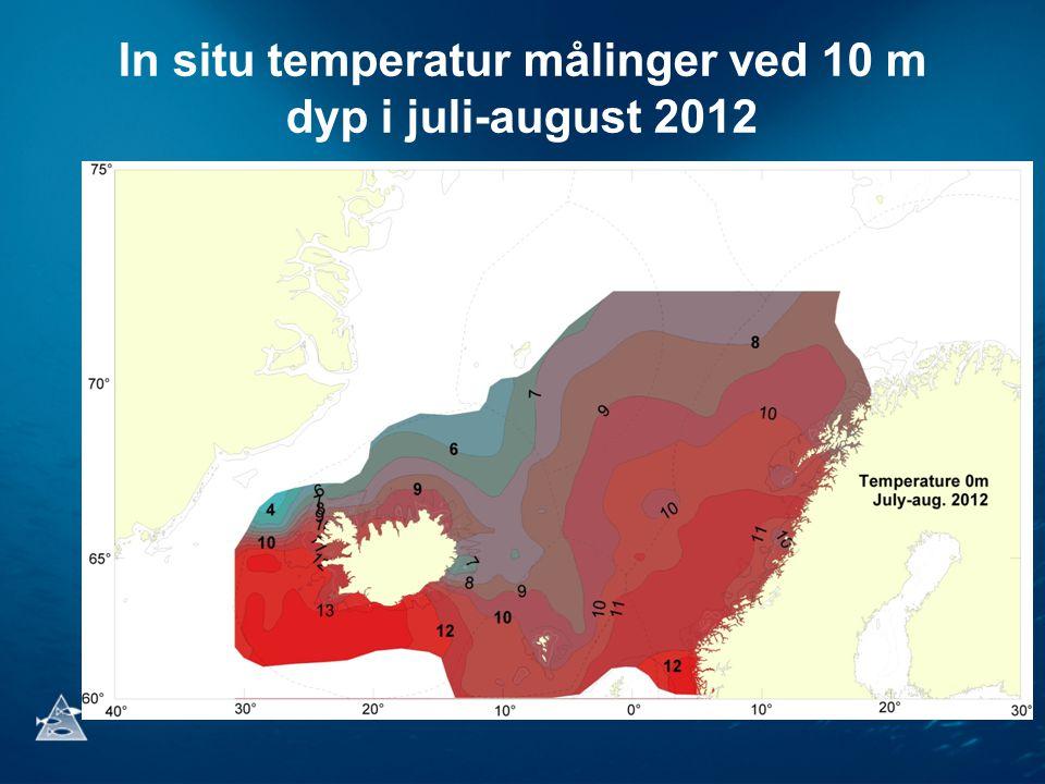 In situ temperatur målinger ved 10 m dyp i juli-august 2012