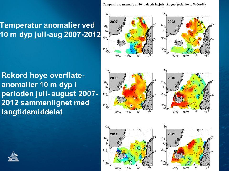 Temperatur anomalier ved 10 m dyp juli-aug 2007-2012 Rekord høye overflate- anomalier 10 m dyp i perioden juli- august 2007- 2012 sammenlignet med langtidsmiddelet