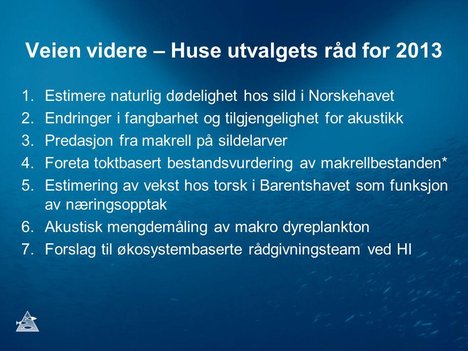 Veien videre – Huse utvalgets råd for 2013 1.Estimere naturlig dødelighet hos sild i Norskehavet 2.Endringer i fangbarhet og tilgjengelighet for akustikk 3.Predasjon fra makrell på sildelarver 4.Foreta toktbasert bestandsvurdering av makrellbestanden* 5.Estimering av vekst hos torsk i Barentshavet som funksjon av næringsopptak 6.Akustisk mengdemåling av makro dyreplankton 7.Forslag til økosystembaserte rådgivningsteam ved HI