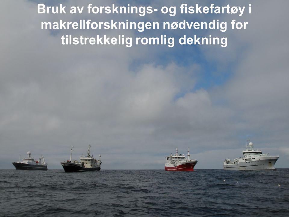 Gjennomsnittlig fangst index på rektangel (kg/km 2 ) for makrell sommeren 2010 Romlig dekning = 1.750 mill km 2
