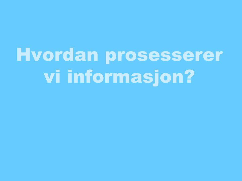 Hvordan prosesserer vi informasjon?