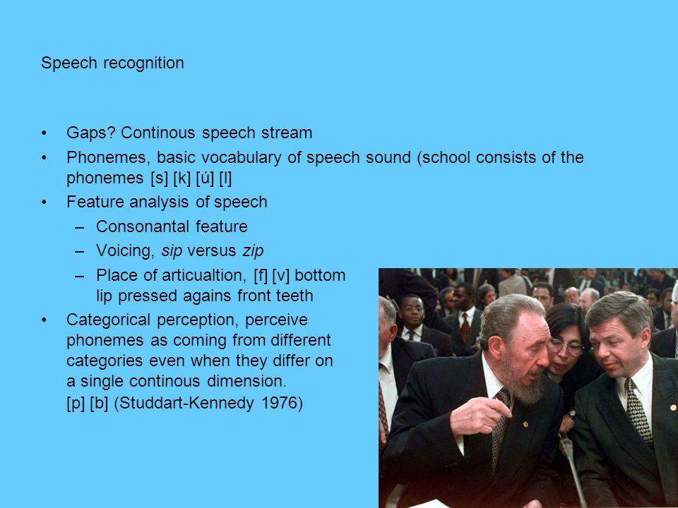 Speech recognition •Gaps? Continous speech stream •Phonemes, basic vocabulary of speech sound (school consists of the phonemes [s] [k] [ú] [l] •Featur