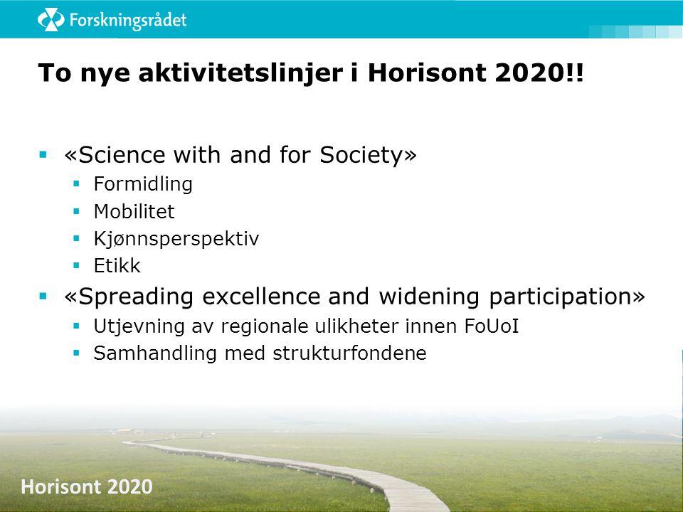 Horisont 2020 To nye aktivitetslinjer i Horisont 2020!!  «Science with and for Society»  Formidling  Mobilitet  Kjønnsperspektiv  Etikk  «Spread