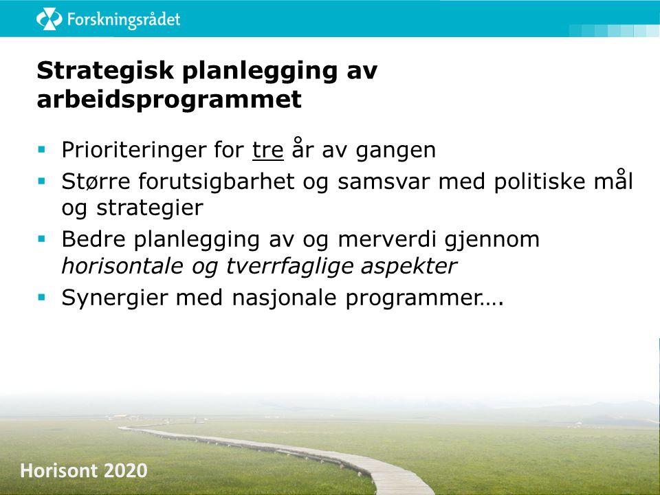 Horisont 2020 Strategisk planlegging av arbeidsprogrammet  Prioriteringer for tre år av gangen  Større forutsigbarhet og samsvar med politiske mål o