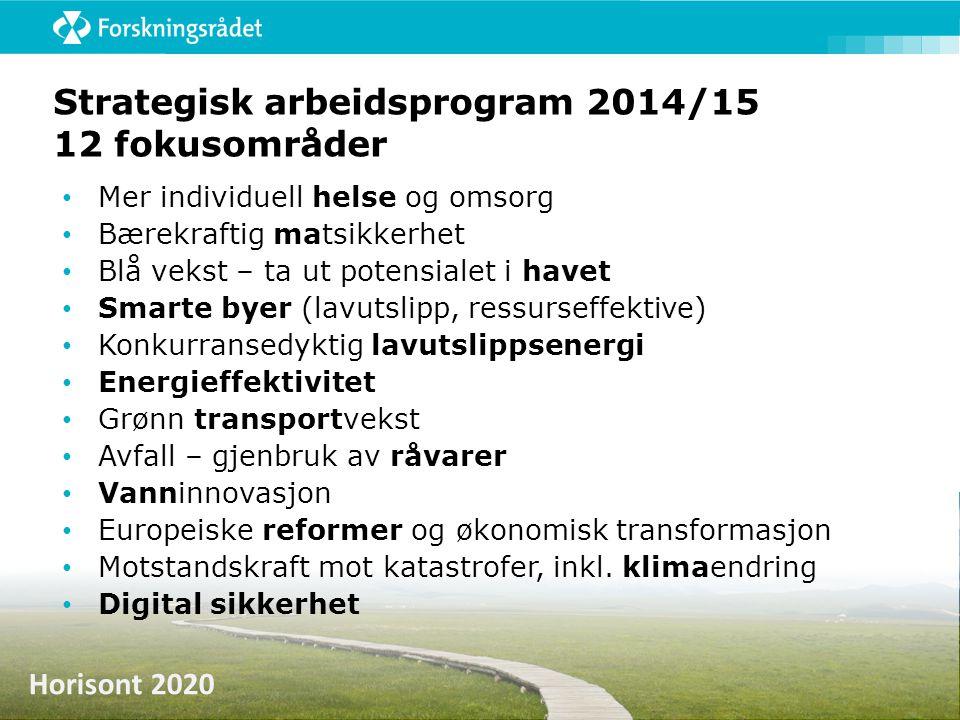 Horisont 2020 Strategisk arbeidsprogram 2014/15 12 fokusområder • Mer individuell helse og omsorg • Bærekraftig matsikkerhet • Blå vekst – ta ut poten