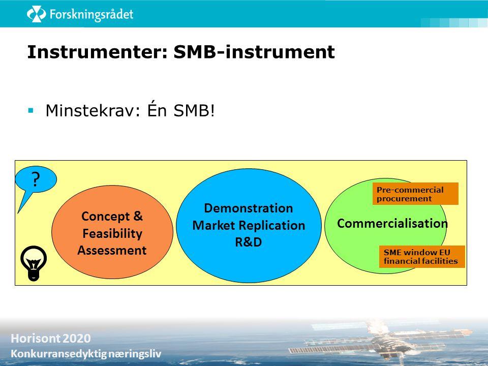 Horisont 2020 Samfunnsutfordringer Horisont 2020 Konkurransedyktig næringsliv Instrumenter: SMB-instrument  Minstekrav: Én SMB! ? Concept & Feasibili