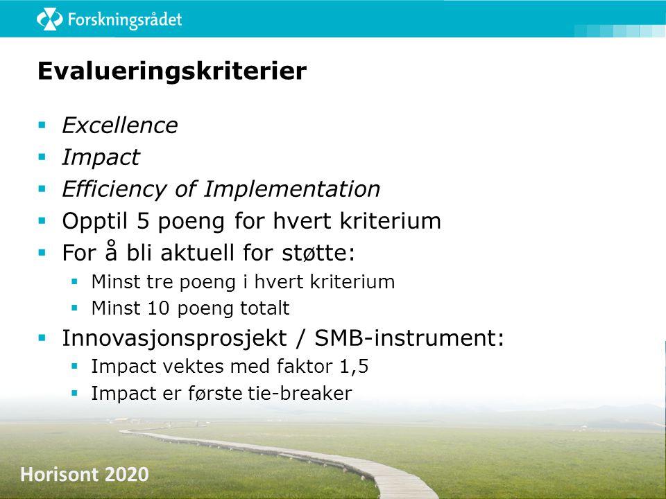 Horisont 2020 Evalueringskriterier  Excellence  Impact  Efficiency of Implementation  Opptil 5 poeng for hvert kriterium  For å bli aktuell for s
