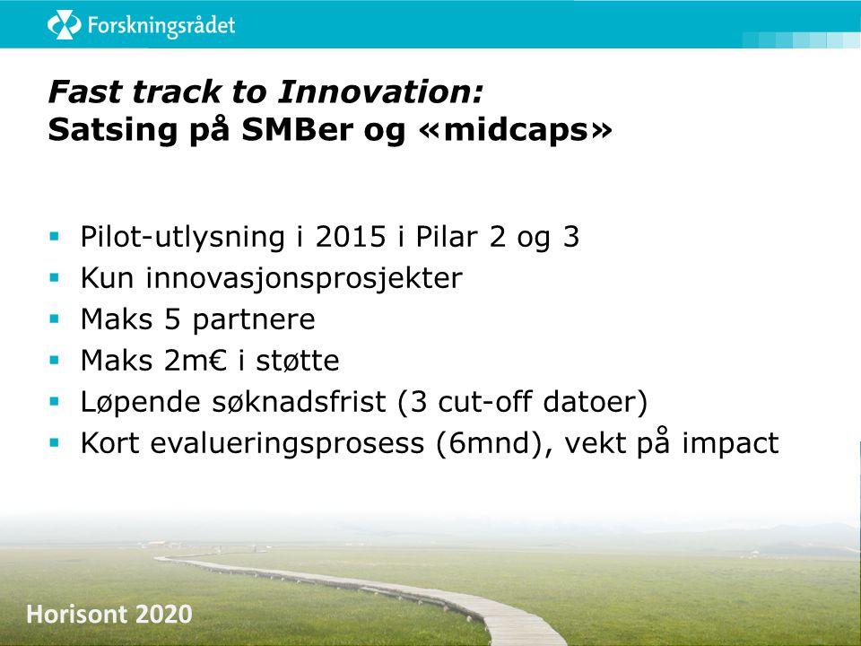 Horisont 2020 Fast track to Innovation: Satsing på SMBer og «midcaps»  Pilot-utlysning i 2015 i Pilar 2 og 3  Kun innovasjonsprosjekter  Maks 5 par