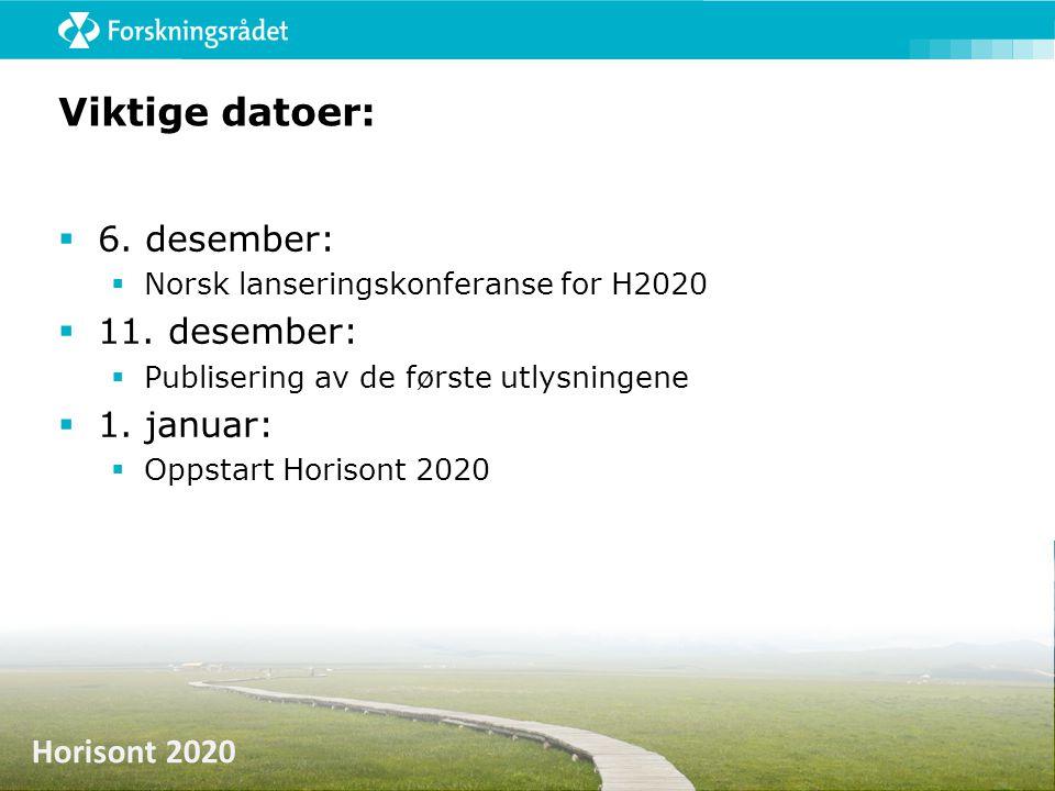 Horisont 2020 Viktige datoer:  6. desember:  Norsk lanseringskonferanse for H2020  11. desember:  Publisering av de første utlysningene  1. janua