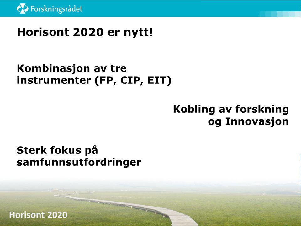 Horisont 2020 Horisont 2020 er nytt! Kombinasjon av tre instrumenter (FP, CIP, EIT) Kobling av forskning og Innovasjon Sterk fokus på samfunnsutfordri